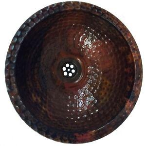 Rustic Oil Rubbed Pure Copper PETITE  Bathroom Sink Wash Basin Bowl Washbasin