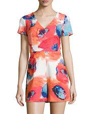 Trina Turk Multicolor Short-sleeve V-neck Jumpsuit  Sz 4