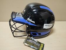 "Wilson ""The One"" Adjustable Softball Black Helmet Facemask Royal Blue Decals"