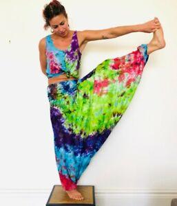 HAREM TROUSERS Rayon Tie Dye Print HIPPY BOHO ALADDIN ALIBABA GENIE yoga Baggy