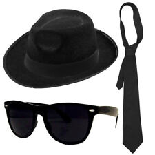 AMERICAN GANGSTER KIT TRILBY HAT BLACK GLASSES TIE FANCY DRESS BLUES  BROTHERS 4a97d5e01169