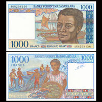 Madagascar 1000 Ariary Banknote, ND(1994), P-76, A Prefix, UNC, Paper Money
