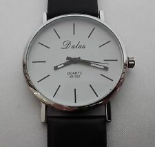 Ladies Girls Mens Unisex Black Leather Band Dalas Quartz Analog Wrist Watch