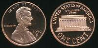 United States, 1992-S One Cent, 1c, Lincoln Memorial - Proof