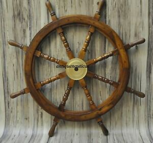 36 Inch Wooden Ship Steering Wheel Pirate Décor Wooden Brass Finishing Wall Boat