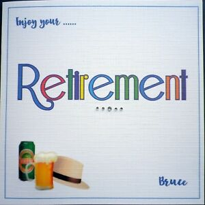 Hand made ~ Enjoy your RETIREMENT card ~ Personalised Blue