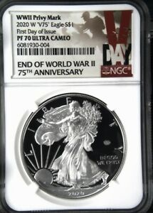 2020 W END OF WORLD WAR II V75 AMERICAN PROOF  SILVER EAGLE NGC PF 70  FIRST DAY