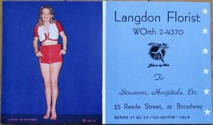 Pinup Girl 1947 Advertising Blotter: Langdon Florist - 55 Reade St., New York