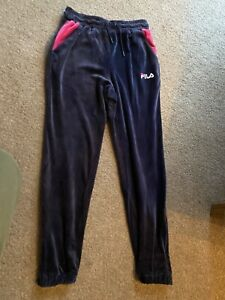 GORGEOUS FILA VELOUR TRACKSUIT BOTTOMS JOGGERS TROUSERS SIZE SMALL