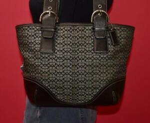 COACH Signature Canvas Black & Grey Leather Tote Shoulder Shopper Purse Bag 6383