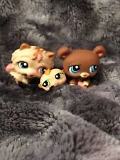 littlest pet shop lot rare htf chow chow dog, bear, and hamster