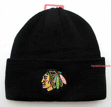 Chicago Blackhawks Black Knit Beanie Cap Hat by Reebok