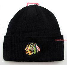 Chicago Blackhawks Black Knit Beanie Cap Hat by Reebok