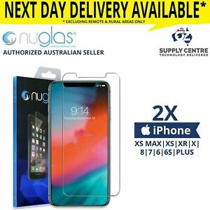 iPhone 11 PRO XS Max XR 8 7 6S 6 Plus -2X NUGLAS Tempered Glass Screen Protector