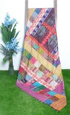 Reversible Vintage Kantha Quilt Queen Size Bedcover Throw Kantha Patchwork Quilt