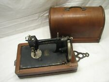 Rare Antique Lead Hand Crank Sewing Machine Victorian w/Wooden Case Japan