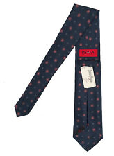 NEW $295 Isaia Pure Silk 7 Fold Tie! Navy With Light Blue Pink & White Medallion