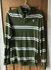 Abercrombie & Fitch Muscle Mens Size XL Rugby Polo Shirt L/S olive Green Striped