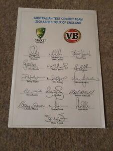 Australia Cricket Team Printed Signed Sheet - Ashes 2009 England - A4