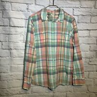 L.L. Bean Women Large Cotton Plaid Button Down Shirt 4383