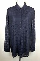 Chico's Navy Lace Overlay Lined Long Sleeve Button Up Nylon Shirt Size 3 XL/16