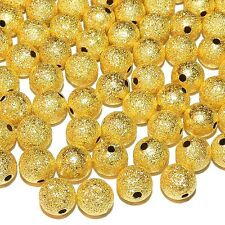 MBL574p Gold Stardust 10mm Round Ball Brass Metal Spacer Beads 50/pkg
