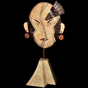 "Modern Art Tessellated Stone Marble Inlay Face Sculpture Joseph De Castro, 26"""