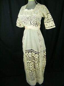 Antique Edwardian Cream Crochet Lace Pink Ribbons Dress-Bust 36/2XS-XS, as-is