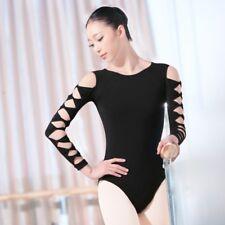 Adult Women Ballet Dance Dress Hollow Sleeves Lyrical Leotard Gymnastics Costume