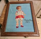 """Needlepoint Antique Samplier Embroidery 1927 Child Patsy Ann 17"""" by 14"""" Framed"""