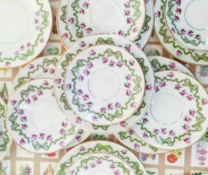 Aynsley Ribbon & Roses Bow Bone China Tea Plates, Saucers, Side Plate. Set Of 15