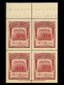 16T35 TELEGRAPH Red Violet WESTERN UNION 1904 Pane Of 4 MNH SEE PHOTOS BK-352