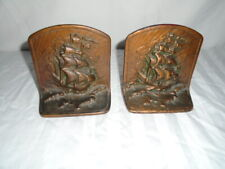 Antique Cast Iron Clipper Ship Bookends Pair Solid Metal