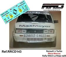 DECAL/CALCA 1/43; Renault 11 Turbo;Mora-Marcos; Rally La Rioja 1988