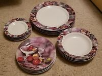 Gabbay....Set of 4 Fruit Themed Formal Dinnerware (15 Pieces) in VG Condition