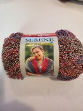 Premier Serene boucle yarn. 10.6 oz. Acrylic/polymide. Wgt 1. Blue/ cranberry