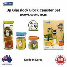 Glasslock 3P Glass Food Container Block Canister Storage Stackable BPA Free Set