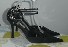 DUNE - BLACK SATIN DIAMANTE SHOES - 41 (G3533)
