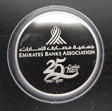 UAE UNITED ARAB EMIRATES SILVER PROOF 50 DIRHAMS COIN 2007 YEAR KM#82 25th BANKS