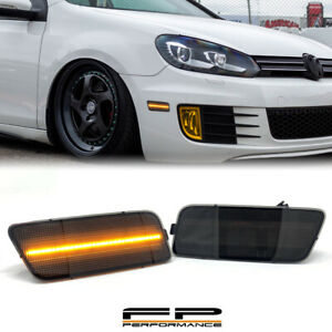 For 2010-2014 VW MK6 Golf GTI Front Amber LED Side Marker Light Lamp Smoked Pair