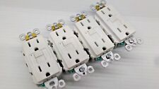 LOT OF 4 Pass Seymour 1597W Duplex GFCI Receptacle 15A Shutters WHITE FREE SHIP