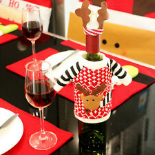 2Pcs Wine Bottle Cover Xmas Santa Table Decor Christmas Bottle Cap Party Gift