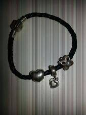 Pandora Black Leather Woven Bracelet & 3 Charms With the Pandora Mark S 925 ALE