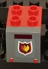 Red & Gray 2 X 2 X 2 Container w door w slot Fire Building Lego Bricks