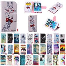 Para Apple iPhone 4 5 6 cuero soporte tarjeta a presión Soporte Estampado Billetera Estuche Cubierta