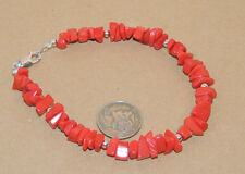 """Sterling Silver and Chip Coral Bracelet 7 1/2 """" (9636)"""