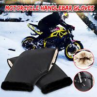 Pair Waterproof Motorcycle Grip HandleBar Muffs Winter Thermal Glove Warm Black