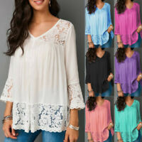 Womens 3/4 Sleeve T Shirt Lace V Neck Plus Size Shirt Casual Solid Tops Blouse
