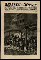 New York Snowstorm Chaos Fear Panic Mobs Urban Life 1884 wood engraved print
