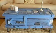 Cassapanca in Legno massello Baule Cassa Tavolino da salotto Shabby Azzurro